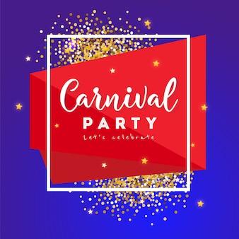 Carnaval-conceptenbanner met kader en sterren op een donkere achtergrond. dikke dinsdag