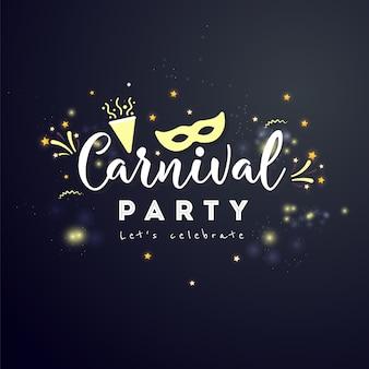 Carnaval-conceptenbanner met ster en vuurwerk