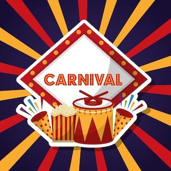 Carnaval eerlijke festivalmuziek vuurwerk