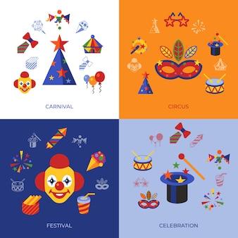 Carnaval en circus pictogrammen