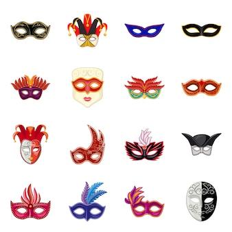 Carnaval en theatraal symbool. stel carnaval en mysterie in