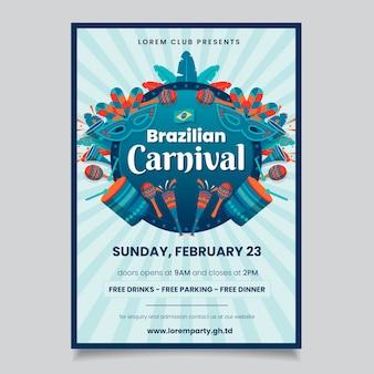 Carnaval-feestaffiche met muziekinstrumenten