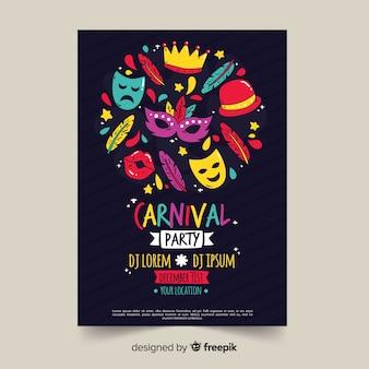 Carnaval feestaffiche tempalte