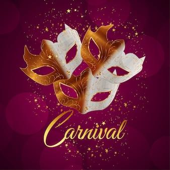 Carnaval-gebeurtenisvieringsachtergrond met realistisch masker