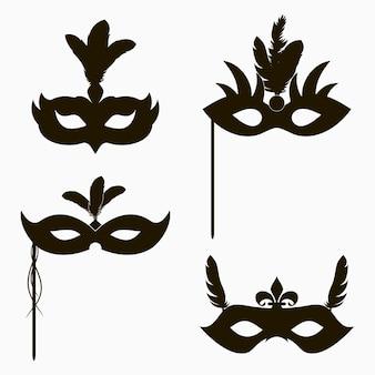 Carnaval gezichtsmaskers pictogrammen set van geïsoleerde silhouet decoratie voor maskerade partij met veren