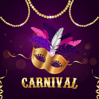 Carnaval gouden masker op paarse achtergrond
