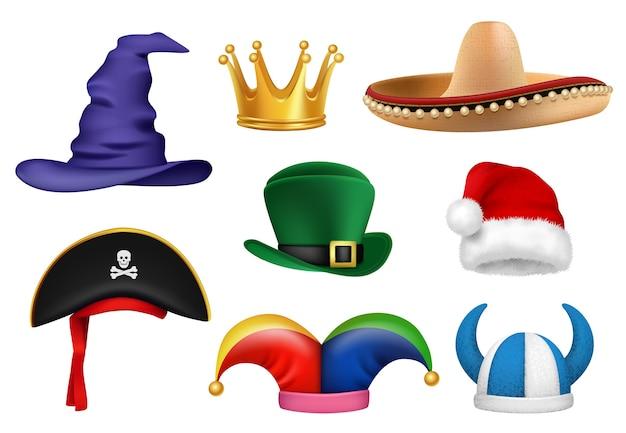 Carnaval hoeden. maskerade kleding stof grappige hoeden viking sombrero clown santa kroon feestartikelen realistisch. maskerade hoed carnaval, kostuum partij illustratie