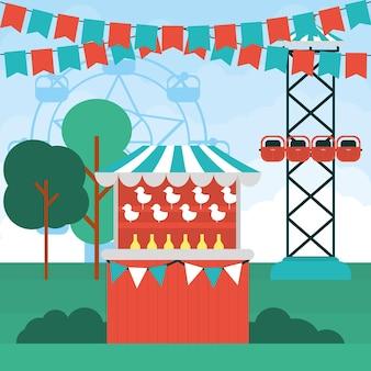 Carnaval-illustratie met attracties in de buurt
