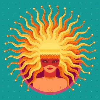 Carnaval in venetië illustratie. jonge vrouw in gouden kroon