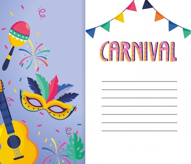 Carnaval-kaart met gruitar en maskerdecoratie
