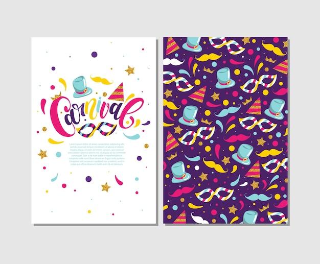 Carnaval-kaarten, carnavalsbelettering met kleurrijke elementen, vectorillustratie