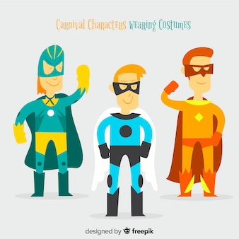 Carnaval-karakters die kostuums dragen