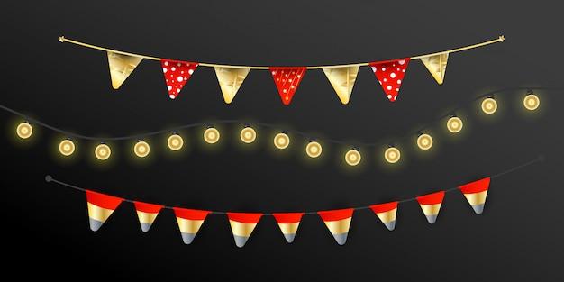Carnaval-kerstslinger met vlaggen-slingers, lichten realistische design lampen elementen. vakantie voor verjaardag, festival en eerlijke decoratie.