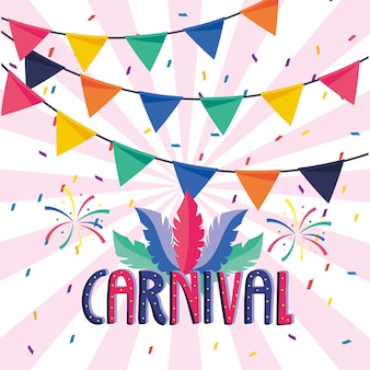 Carnaval-lettertype met veren en vuurwerk