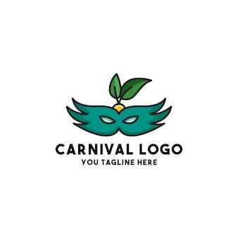 Carnaval logo vector met masker concept stijl vakantie