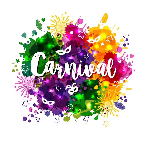 Carnaval mardi gras op veelkleurige aquarel vlekken