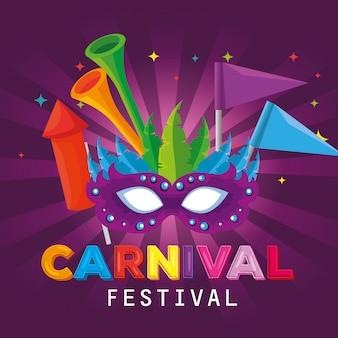Carnaval-masker met veren en vlaggendecoratie met trompet