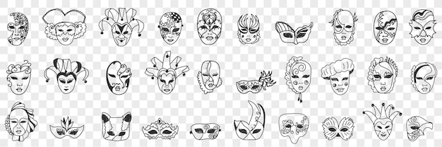 Carnaval maskers assortiment doodle set illustratie