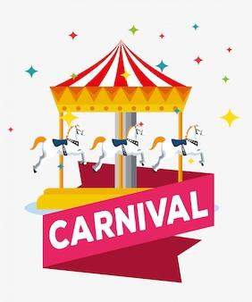 Carnaval met draaimolen en lintdecoratie