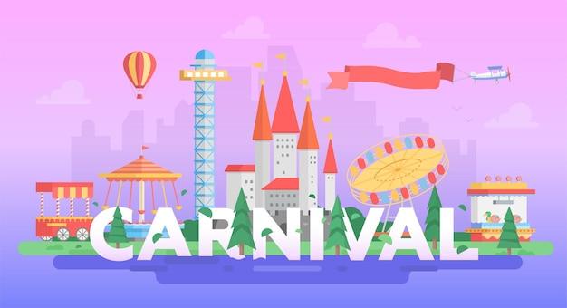 Carnaval - moderne vectorillustratie in een rond frame op paarse achtergrond met plaats voor tekst. attracties, bomen, draaimolens, draaimolen, kasteel, toren. entertainmentconcept