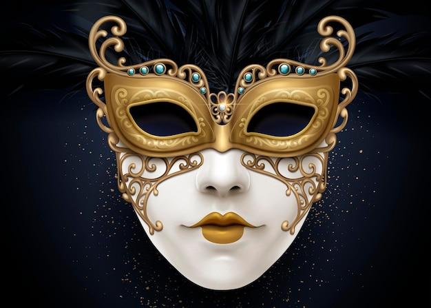 Carnaval mooi masker in 3d illustratie met gouden kleurdeeltjes
