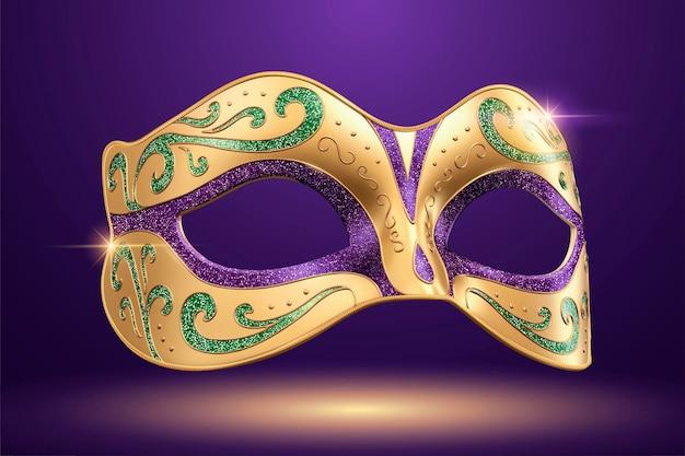 Carnaval mooi masker in 3d illustratie op paarse achtergrond