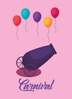 Carnaval-ontwerp met kleurrijke ballonnen en canon pictogram