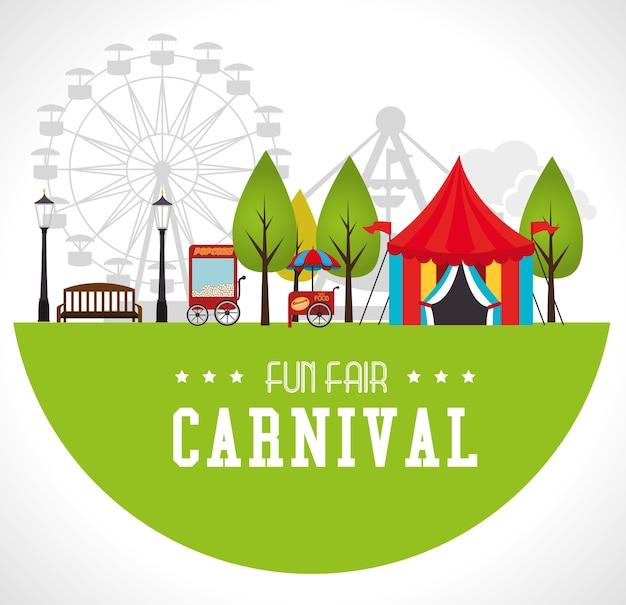 Carnaval-ontwerp over witte vectorillustratie als achtergrond