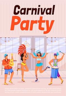 Carnaval partij poster platte sjabloon. vrouwen in feestelijke kleding. mannen spelen ukelele en conga. brochure, boekje conceptontwerp van één pagina met stripfiguren. etnische vakantie flyer, folder