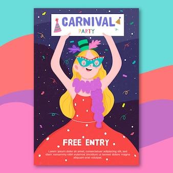 Carnaval-partijaffiche met vrouw het dansen