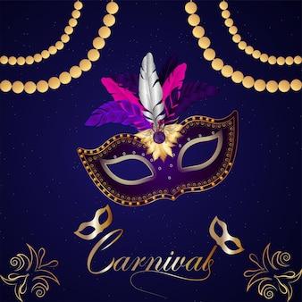 Carnaval-partijgroetkaart met masker op purpere achtergrond