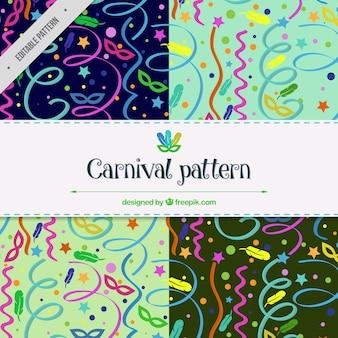 Carnaval patronen met kleurrijke serpentine
