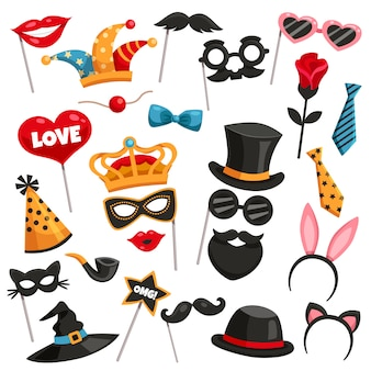 Carnaval photo booth party icon set