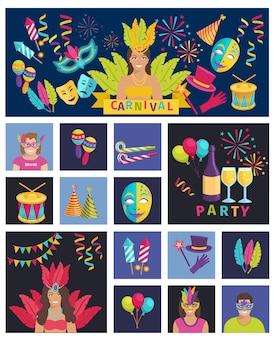 Carnaval-pictogram de vlakke vectoraffiche van de illustratiesamenstelling