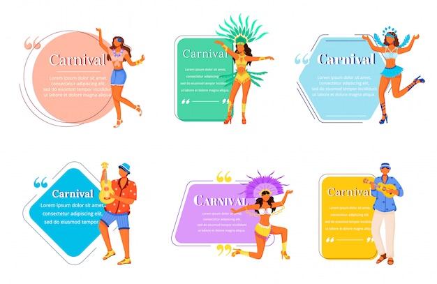 Carnaval platte karakters citaten set