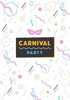 Carnaval poster. abstracte memphis 80s, 90s stijl retro achtergrond met plaats voor tekst.