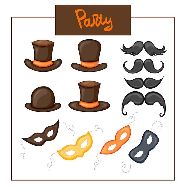 Carnaval verjaardagsset met speelse maskers, hoeden en snor op een witte achtergrond. cartoon-stijl. vector.