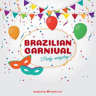Carnavalsfeest achtergrond met slingers en ballonnen