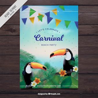 Carnavalsfeest flyer met de toekans