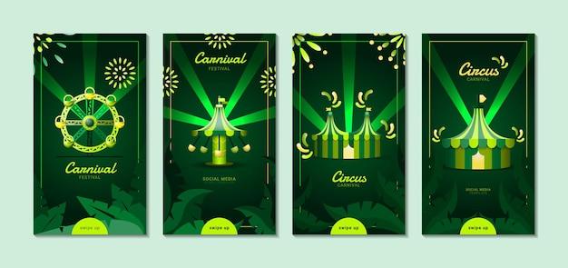 Carnival social media-sjabloon. met illustratie van reuzenrad, draaimolen en circustent.