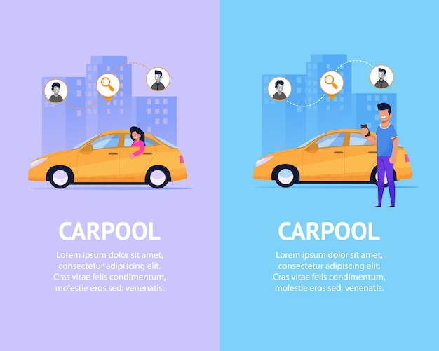 Carpool-bannerset. moderne taxi vlakke afbeelding.
