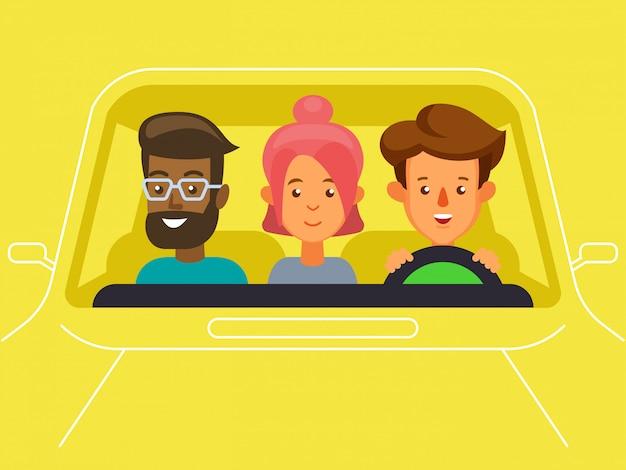 Carpool met karakters van bestuurder en passagiers