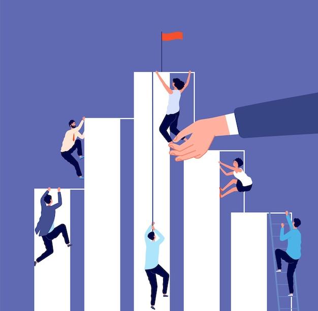 Carrière competitie. groeiladder, zakelijke uitdaging. mensen uit het bedrijfsleven klimmen naar succes. hulp bij het werk, investeringen vectorillustratie. zakelijke groei carrière, prestatie en concurrentie corporate