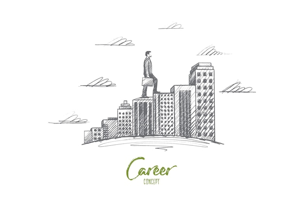 Carrière concept. hand getrokken man beweegt naar het doel. persoon beweegt hoger, symbool van ambitie geïsoleerde illustratie.