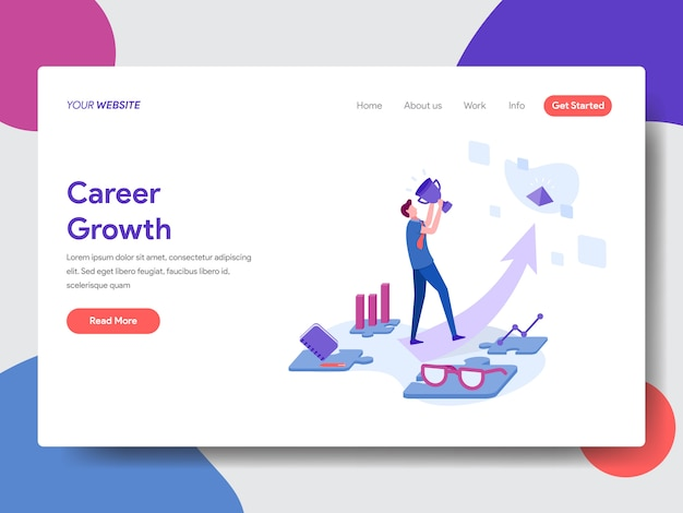 Carrière groei illustratie voor webpagina