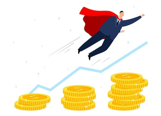 Carrière groei. zakelijke motivatie, leiderschapsconcept. man superheld vliegen, stapels munten en financiële grafiek vectorillustratie