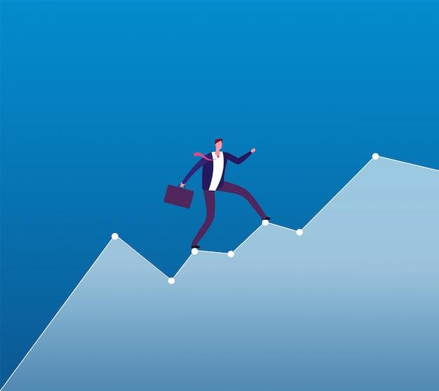 Carrière groei. zakenman stijgt van groeiende grafiek. zakelijke carrièreplanning, professionele strategie achtergrond