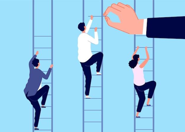 Carrière ladder. help zakenman, zakelijke uitdaging. ongelijke arbeidsvoorwaarden en doorgroeimogelijkheden. leiderschapswedstrijd