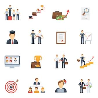 Carrière pictogrammen platte set