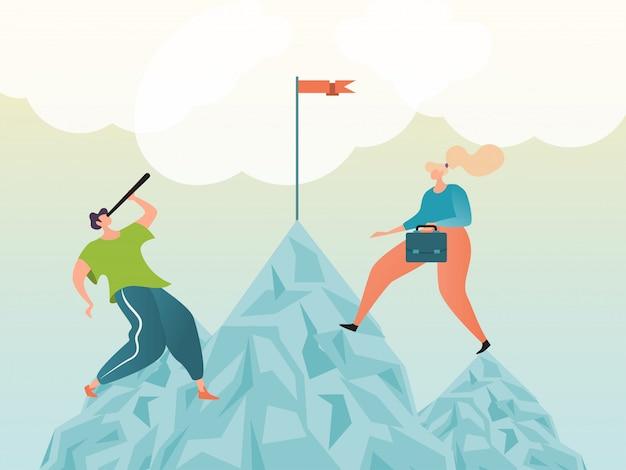 Carrièreconcept, de groeivooruitgang en voltooiings zakelijk succes als het beklimmen van berg, illustratieontwerp, beeldverhaalstijl.